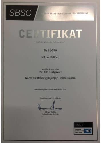 Svenska Alarm certifierad ingenjör inbrottslarm