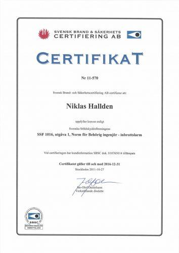 Svenska Alarm har certiferad ingenjör inbrottslarm