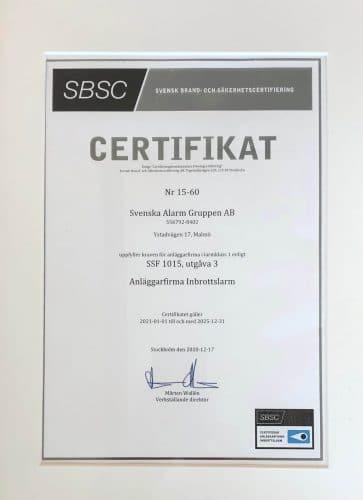 Certifikat SBSC SSF Stöldskyddsföreningen 1015 Svenska Alarm